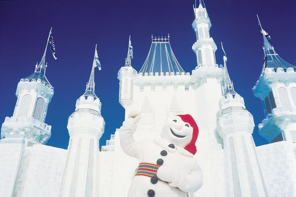 Quebec Winter Carnival, Bonhomme, Ice Palace; Photo Credit Claude Huot